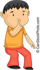 vector, caricatura, hombre, hizo señas, silencio