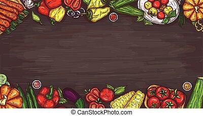 vector, caricatura, ilustración, de, vario, vegetales, en, un, de madera, fondo.