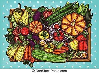 vector, caricatura, ilustración, de, vario, vegetales, entero, y, cortar, en, un, de madera, fondo.