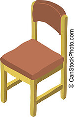 vector, caricatura, isométrico, silla de madera, icon.