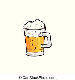 vector, caricatura, jarra, de, dorado, cerveza, con, espuma