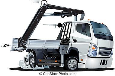 vector, caricatura, lkw, camión, con, grúa