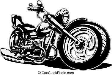 vector, caricatura, moto