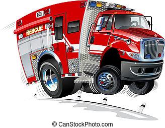 vector, caricatura, rescate, camión