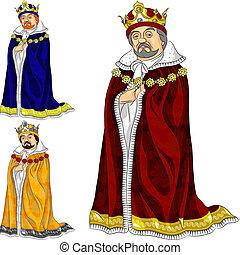 vector, caricatura, rey, en, tres, colores