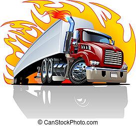 vector, caricatura, semi, truck., one-click, repaint