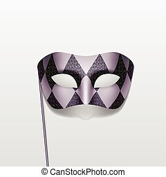 Vector Carnival Masquerade Party Mask on a Stick Isolated Background