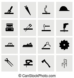 Vector carpentry icon set  on grey background