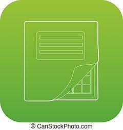 vector, carpeta, tabla, icono, verde, excel