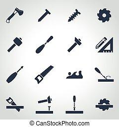 vector, carpintería, conjunto, negro, icono