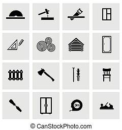 vector, carpintería, conjunto, negro, iconos