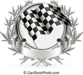 vector, carreras, emblema