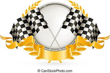 vector, carreras, plata, emblema