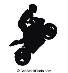vector, carreras, silueta, wheelie, motocicleta