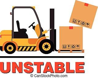 vector, carretilla elevadora, boxes., goteante, camión, mudanza, cartón