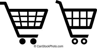 vector, carro de compras, iconos