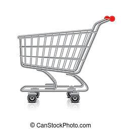 vector, carro de compras, ilustración