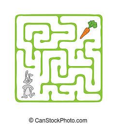 vector, carrot., conejo, laberinto, laberinto