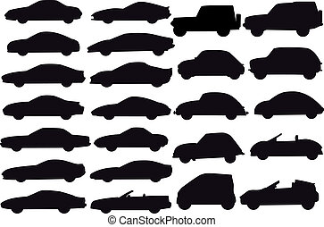 vector cars - set of car silhouettes, vector