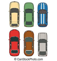 Vector cars set top view illustration