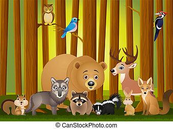 vector, carto, ilustración, animal
