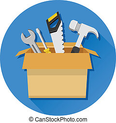 Vector Carton Box with Tools and Do