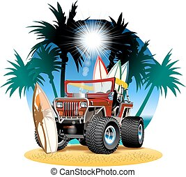 Vector cartoon 4x4 car on beach