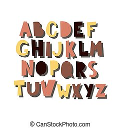 Vector cartoon alphabet with shadow isolated on white background. Colorful letters, hand drawn font flat style illustration