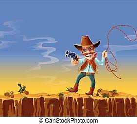 Vector cartoon american cowboy with gun and lasso