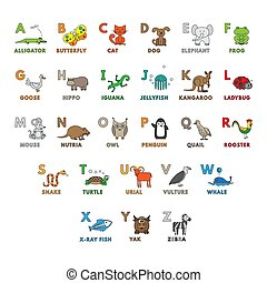 Vector Cartoon Animals Alphabet