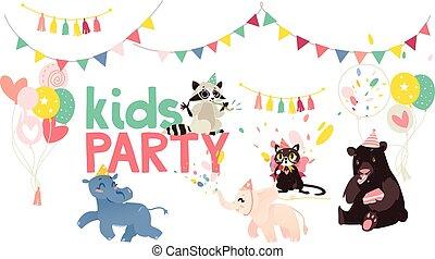 vector cartoon animals party poster
