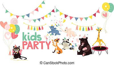 vector cartoon animals party poster