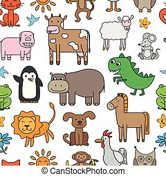 Vector Cartoon Animals Pattern