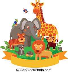 Vector cartoon animals - zoo