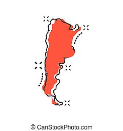 Vector cartoon Argentina map icon in comic style. Argentina sign illustration pictogram. Cartography map business splash effect concept.