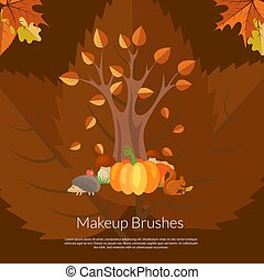 Vector cartoon autumn elements and leaves background with place for text illustration