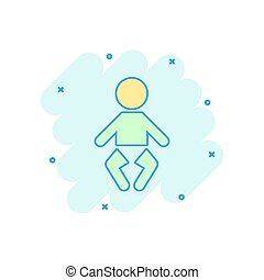 Vector cartoon baby icon in comic style. Child sign illustration pictogram. People business splash effect concept.