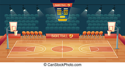 Vector cartoon background of empty basketball court....
