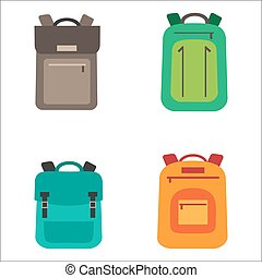 Vector cartoon backpacks set