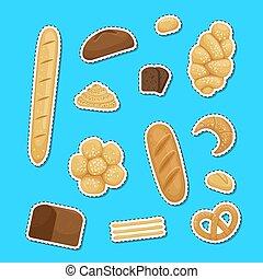 Vector cartoon bakery elements stickers set illustration