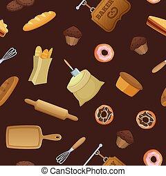 Vector cartoon bakery pattern or background illustration