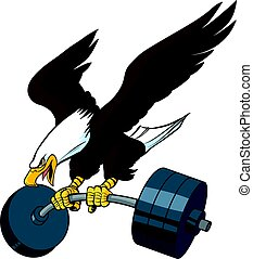 Vector Cartoon Bald Eagle Diving with Barbell