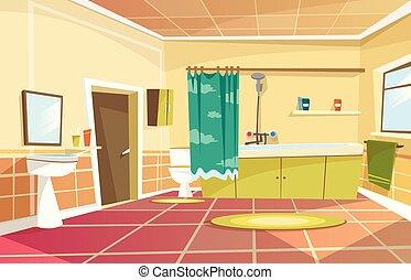 Vector cartoon bathroom interior background