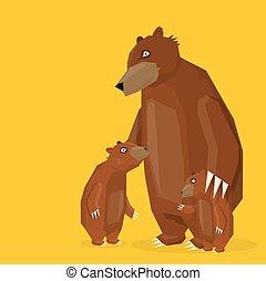 vector cartoon bear family