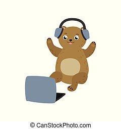 Vector cartoon bear sitting with laptop ta knees