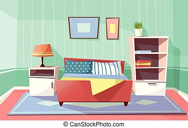 Vector cartoon bedroom interior background