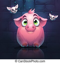 Vector cartoon big pig on a brick wall background with butterfly skull