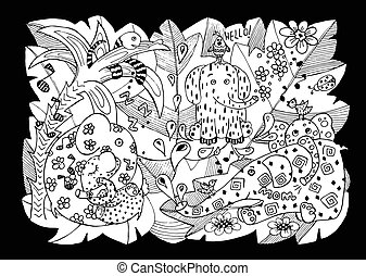 Vector cartoon big set of cute doodle elephant. Perfect for postcard, birthday, baby book, children room. Children's drawing with an elephant mom and baby, birds, a parrot, a snake, tropics, letters for the design of the wall, board, wallpaper, invitations