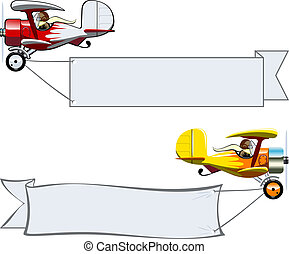Cartoon Biplane - Vector Cartoon Biplane with banner. ...