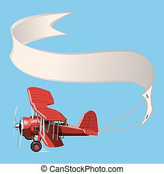 Cartoon Biplane with banner - Vector Cartoon Biplane with...